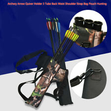 Archery Arrow Quiver Holder 3 Tube Back Waist Shoulder Strap Bag Pouch Hunting-V