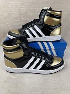 Adidas Top Ten Hi (RB) Black Gold  Patent Men's Size 12 (FX7873)