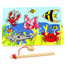 Baby Wooden Magnetic Fishing Toys Game 3D Jigsaw Puzzle Children Education Toy
