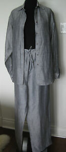 RON LEAL MADE IN CANADA LINEN BLEND BLOUSE/MATCHING PANT 10
