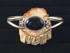 Solid Sterling Silver Cuff Bracelet with 18x13 Black Onyx Gemstone