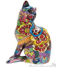 More details for groovy art glossy bright coloured sitting cat ornament figurine cat lover gift