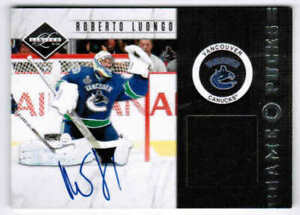 11/12 2011 PANINI LIMITED ROBERTO LUONGO GAME PUCKS AUTO /20 VANCOUVER CANUCKS