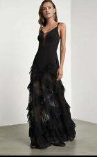 "NWT BCBG MAXAZRIA ""AVALINE"" PLEATED LACE GOWN PROM DRESS Color Black Size 0"