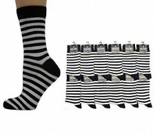 Hombre Blanco y Negro Rayas Calcetines Tobilleros - Talla: GB 6-11 NUEVO