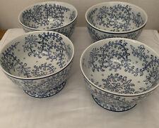 4 Pottery  BARN INDIGO PEDESTAL BOWLS SERVING/SOUP/CEREAL BOWLS