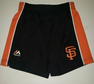 SAN FRANCISCO GIANTS MLB Orange Black Logo poly Athletic Shorts. 18 month