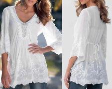 US Fashion Womens Long Sleeve Shirt Casual Lace Blouse Loose Cotton Tops T Shirt