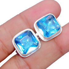 Jewelry Men's Cufflinks Wc086C London Blue Topaz Gemstone Handmade