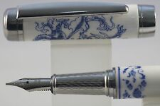 Jinhao Blue & White Porcelain Fine Fountain Pen, Dragon Design