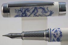 Jinhao Blue & White Porcelain Fine Fountain Pen, Dragon Design