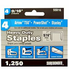 """Surebonder Arrow Heavy Duty Staples 9/16"""" (14mm) 1250 Count  55916 PowerShot"""