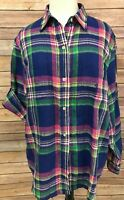 Ralph Lauren Womens Blue Pink Madras Plaid Linen Top Size Large Roll Tab Sleeve