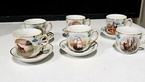 Antique Childs Tea Set with Story Scenes Ships Carusoe 11 Pieces Cups Saucers