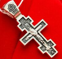 RUSSIAN GREEK ORTHODOX MEDIUM SIZE CRUCIFIX CROSS W/PRAYER. 925 STERLING SILVER