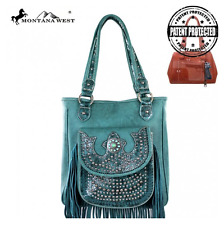 CONCEALED CARRY CCW MONTANA WEST FRINGE COLLECTION HANDBAG TURQUOISE GUN BAG