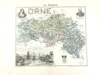 1893 Antique Map of Orne Alencon France French Regional Hand Coloured