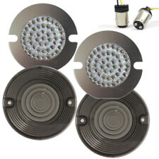 """Eagle Lights 3"""" Harley LED Front Turn Signal Inserts FLAT Style w Smoked Lenses"""