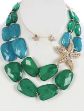 Two Layers Multi Green Lucite Bead Gold Tone Side Starfish Necklace Earring