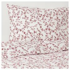 Ikea HASSLEKLOCKA Twin Duvet Cover w/Pillowcase Bed Set White/Pink Floral - NEW