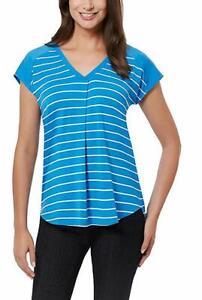 5 SHIRTS Adrienne Vittadini Ladies' Short Sleeve Top SMALL BLUE STRIPE 5 SHIRTS