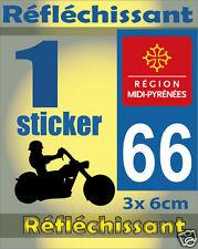 1 Sticker REFLECHISSANT département 66 rétro-réfléchissant immatriculation MOTO