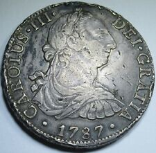 1787 FM Nice Spanish Silver 8 Reales Eight Real US Colonial Pirate Treasure Coin