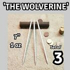 "(3)""THE WOLVERINE"" SILVER STEEL DOUBLE SPEAR TIP NINJA THROWING SPIKE SET OF 3"