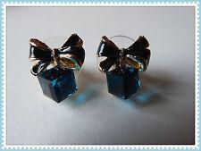 Pretty arco pendientes, clavos, perforado, día de las Madres, idea de regalo, Traje, Moda, Azul