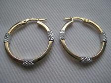 Yellow gold & white diamond cut hoop earrings 9 carat