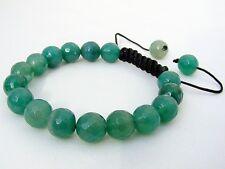 Men's Shamballa bracelet all 10mm  Natural Green Agate stone Beads faceted