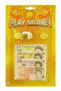 Kids Child Play Fake Pretend Money Role Shops Cash · Pound Notes Coins Party Toy