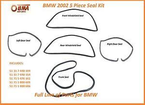 BMW E10 2002 2002tii 5 Piece Seal Kit - Doors & Front & Rear Windshields & Trunk