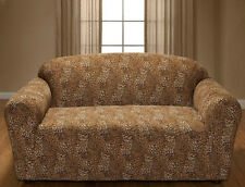 """PRICED TO SELL""   JERSEY    ""LEOPARD""    SOFA COUCH SLIP COVER----""STRETCHES"""