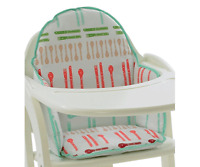 """""""Dinnertime"""" Cushion Insert Pad for Wooden High Chair Pink Green White NEW"""
