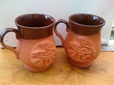 "2 NEW HANDMADE RUSTIC LIMITED EDITION ""BRAN -CELTIC GRAIL"" MOTIF POTTERY MUGS"