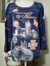 University of Illinois Womens XL Top Blue Orange 3/4 Sleeve Embellished U of I