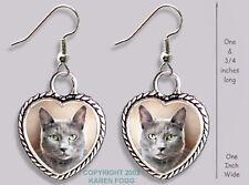 Russian Blue Cat - Heart Earrings Ornate Tibetan Silver
