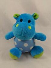 "Sassy Blue Hippo Plush Rattle 4.5"" Polka Dots Has Issue Stuffed Animal"