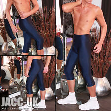 "NEW Mens 27-29"" Navy Lycra 3/4 Gym Shorts Cycle Fitness Gym Running RUN.662.L"
