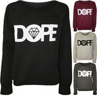 New Womens Dope Diamond Print Long Sleeve Logo Top Ladies Jumper Sweatshirt 8-14