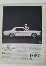 1964 white Ford Mustang hardtop car vintage ad