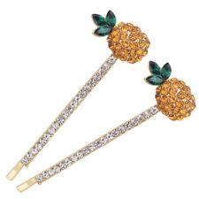 Yellow Women Fashion Crystal Hair Clip 2pcs Rhinestone Pineapple Jewelry