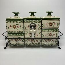 Temptations 5 Canister Set With Wire Basket Green Old World