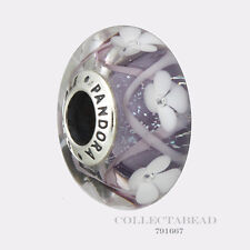Authentic Pandora Silver Murano Purple Field of Flowers Bead 791667 *SPRING 2017