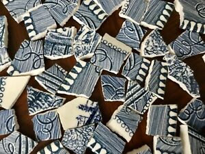 Broken China Mosaic Tiles DENIM BLUE & WHITE ~ 100+ Pieces Currier & Ives China