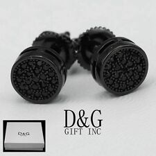 Dg Men S Sterling Silver 925 Black Cz Iced Out 7mm Round Stud