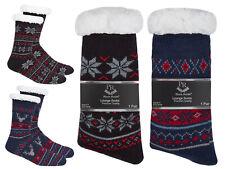 Fairisle Chunky Knit Lounge Socks Fleece Lined Anti Slip Slipper Socks Gift Idea