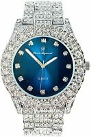 Men Fully Iced Watch Bling Rapper Lab Simulate Diamond Silver Band Luxury Blue