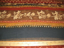 "Brown/Rust/Black Horizontal Floral Stripe 100% Poly Chiffon Fabric 54"" W Bty"